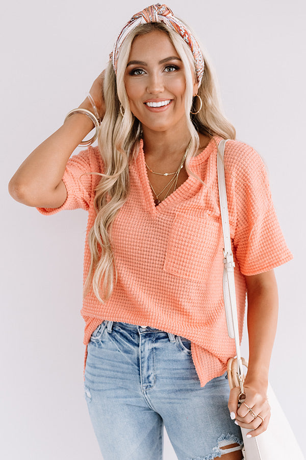 Pave The Way Waffle Knit Top In Nectarine