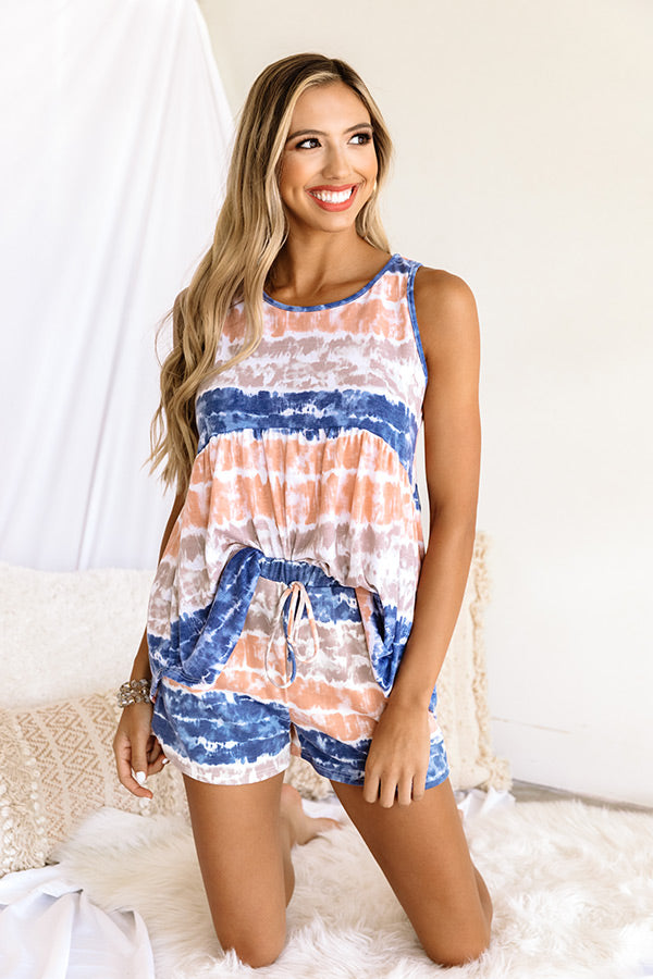 Here And There Tie Dye Babydoll Tank In Navy