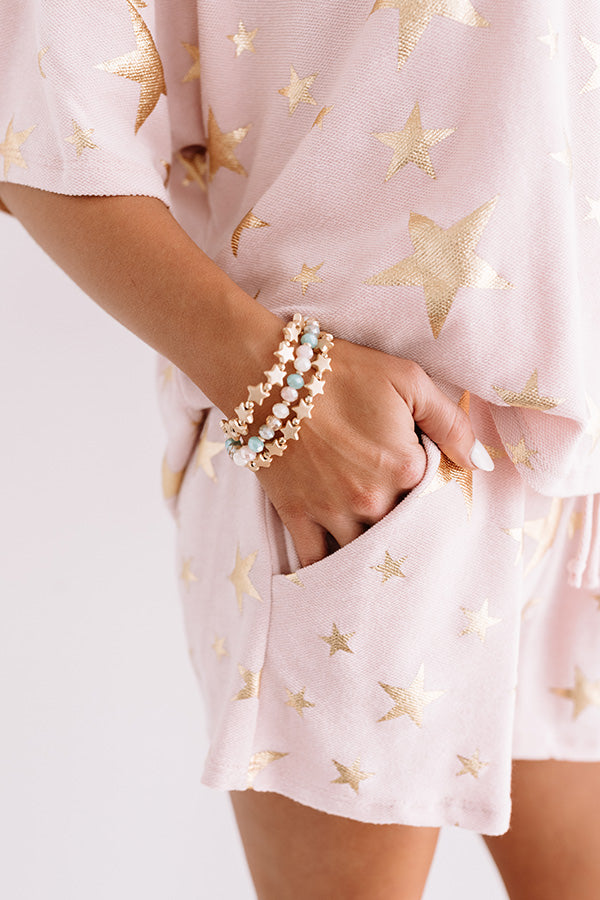 Catching Stars Bracelet Set In Rose Quartz