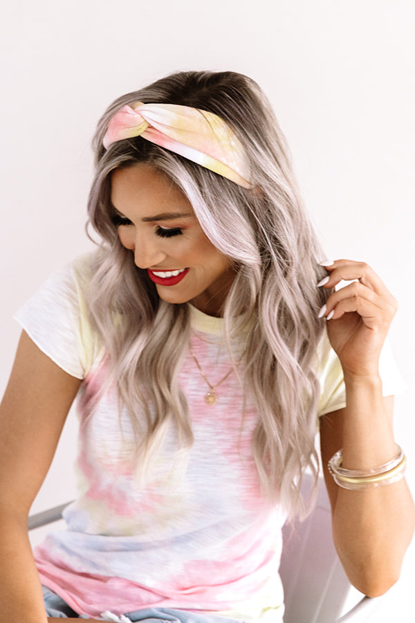 Tying The Knot Tie Dye Headband In Pink