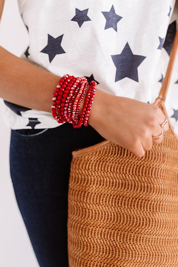 Chic Sensation Bracelet Set In Red