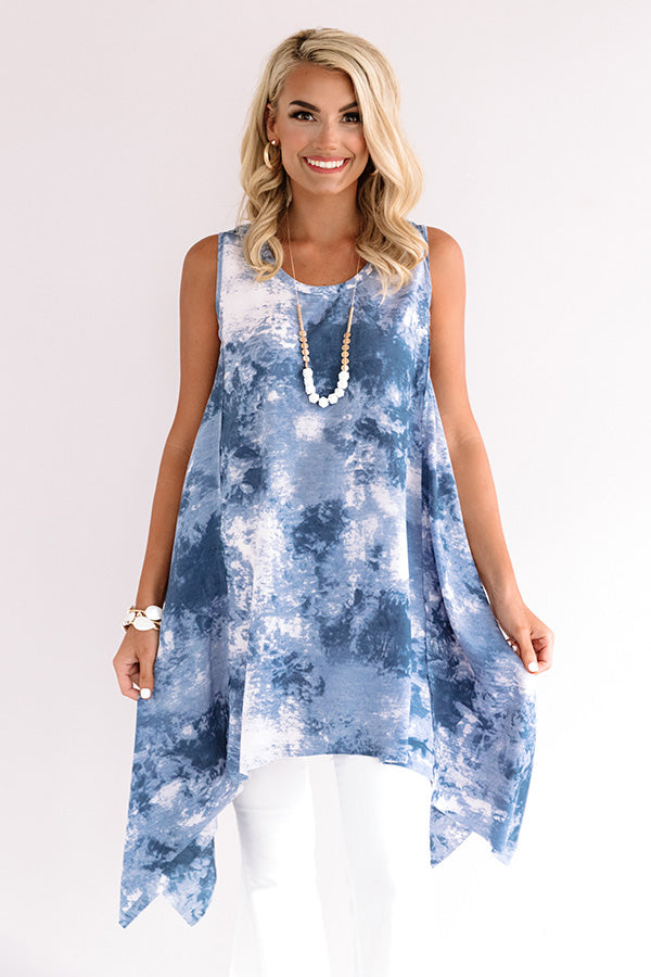 Rhythm And Sway Tie Dye Tunic Dress In Blue