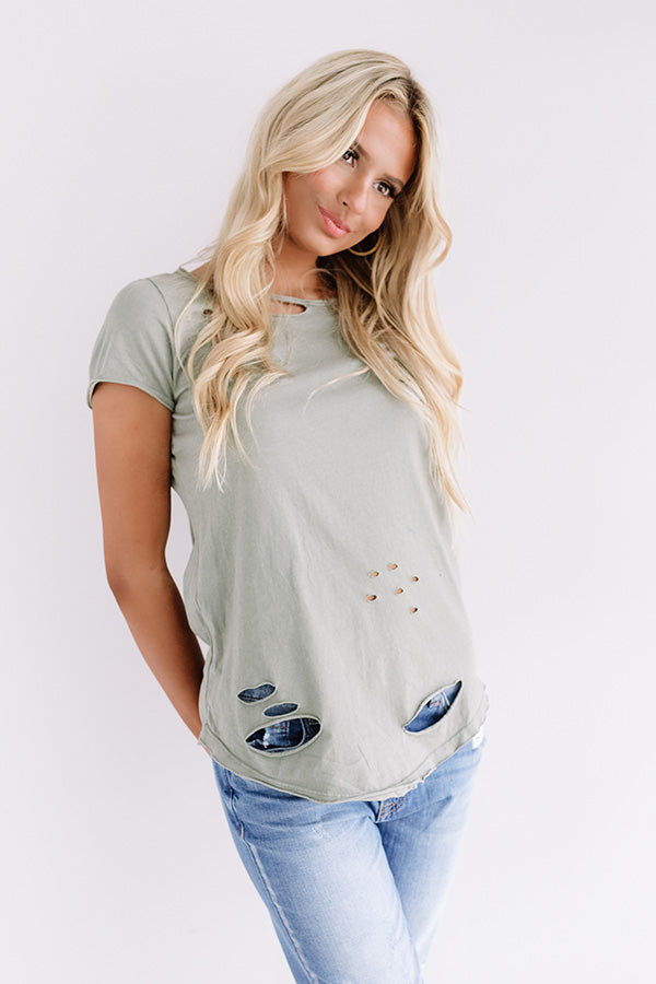 What A Life Distressed Shift Tee In Sage