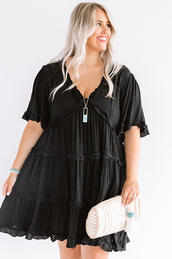 High Spirited Babydoll Dress In Black