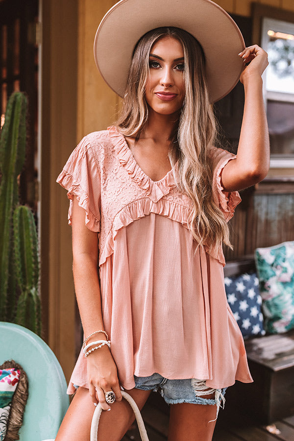 Southern Celebration Babydoll Top In Peach