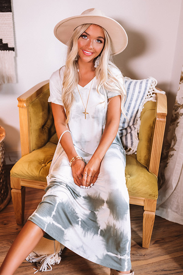 Chic Seascape Tie Dye Maxi In Sage