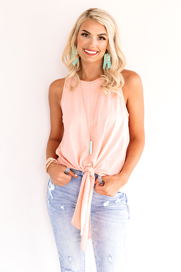 The Yacht Spot Tie Top In Peach