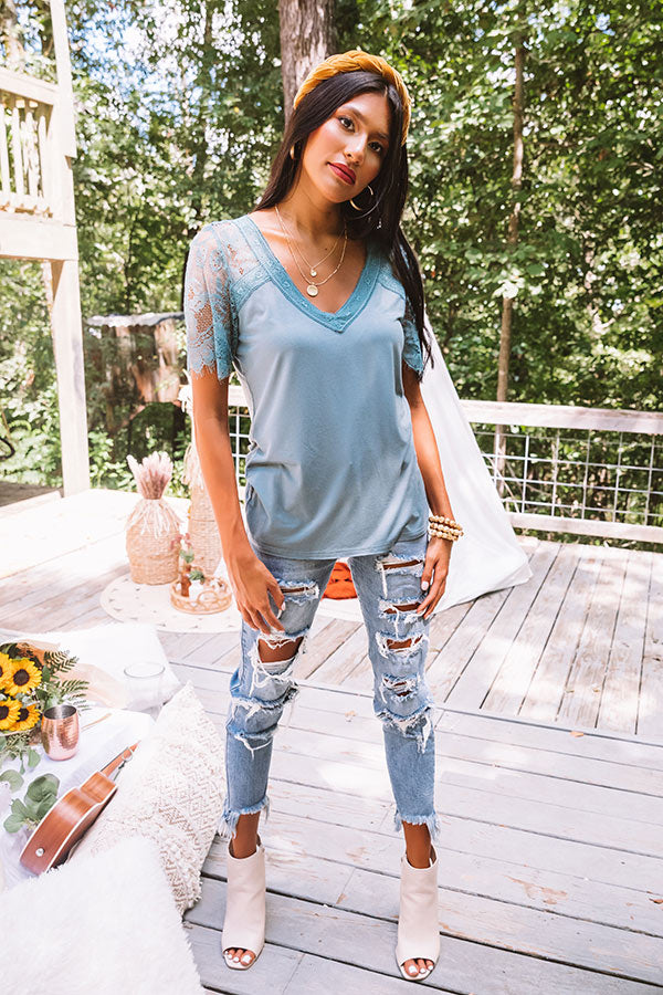 Sights On The Sea Lace Top In Teal