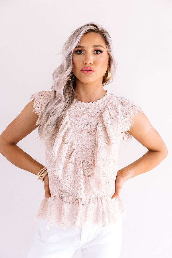 Bryant Park Brunch Lace Top In Natural