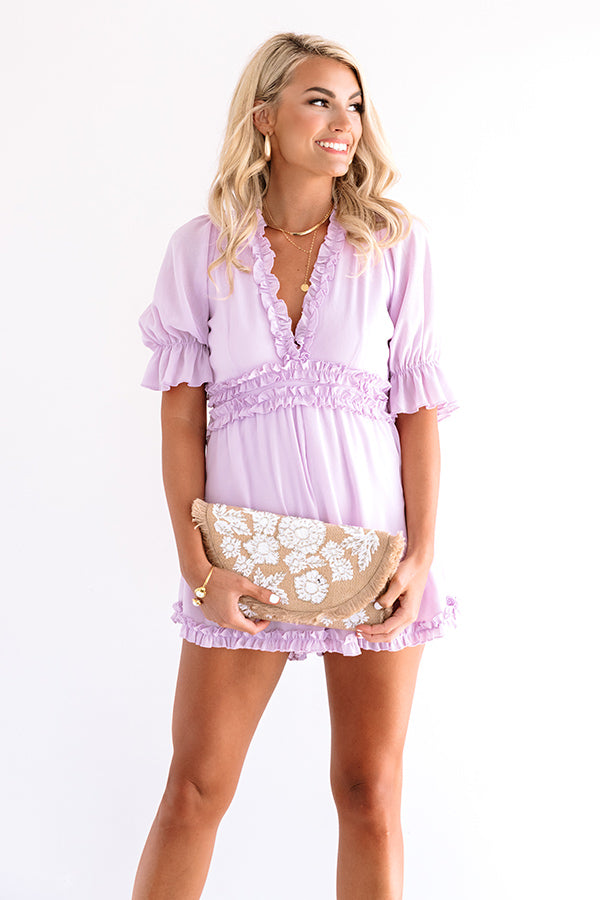 Brooklyn Rooftop Ruffle Romper In Lavender