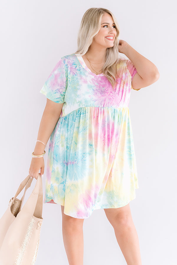 Good Energy Tie Dye Babydoll Dress In Yellow