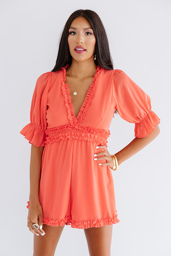 Brooklyn Rooftop Ruffle Romper In Tangerine