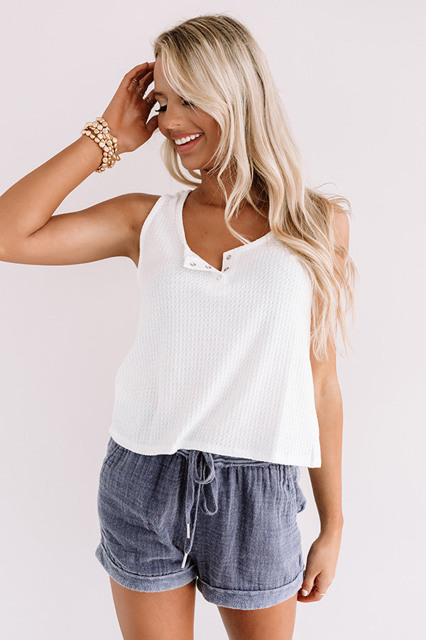 Simply Thriving Waffle Knit Top In White