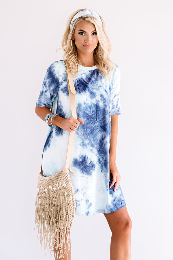 Sweet Fling Tie Dye Shift Dress In Navy