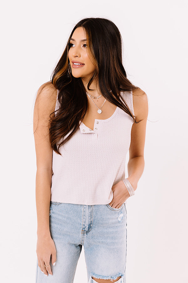 Simply Thriving Waffle Knit Top In Light Blush