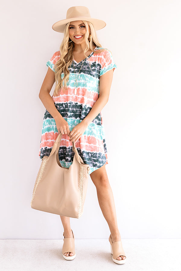 Here And There Tie Dye Dress In Ocean Wave