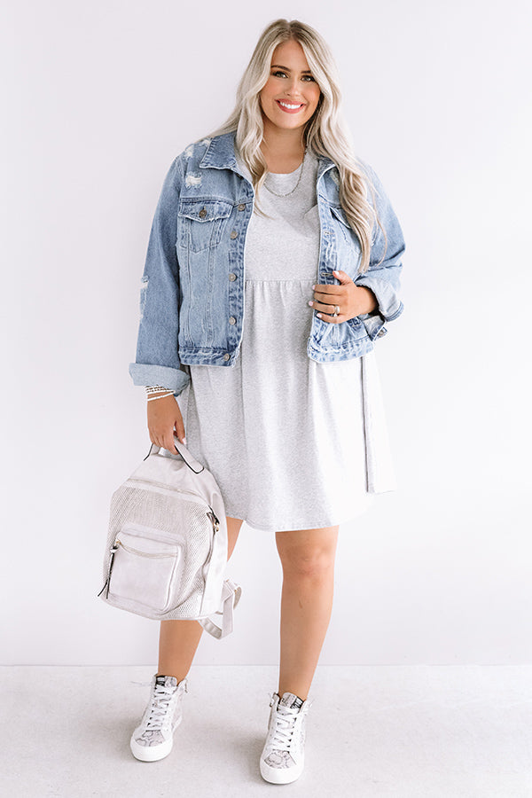 Brunch Bound Babydoll Dress In Grey