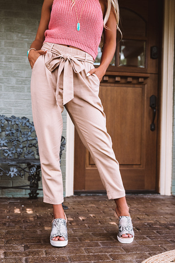 The Celia High Waist Trousers In Tan
