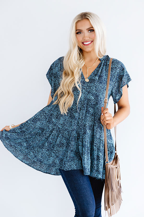 Pineapple Grove Babydoll Dress In Blue