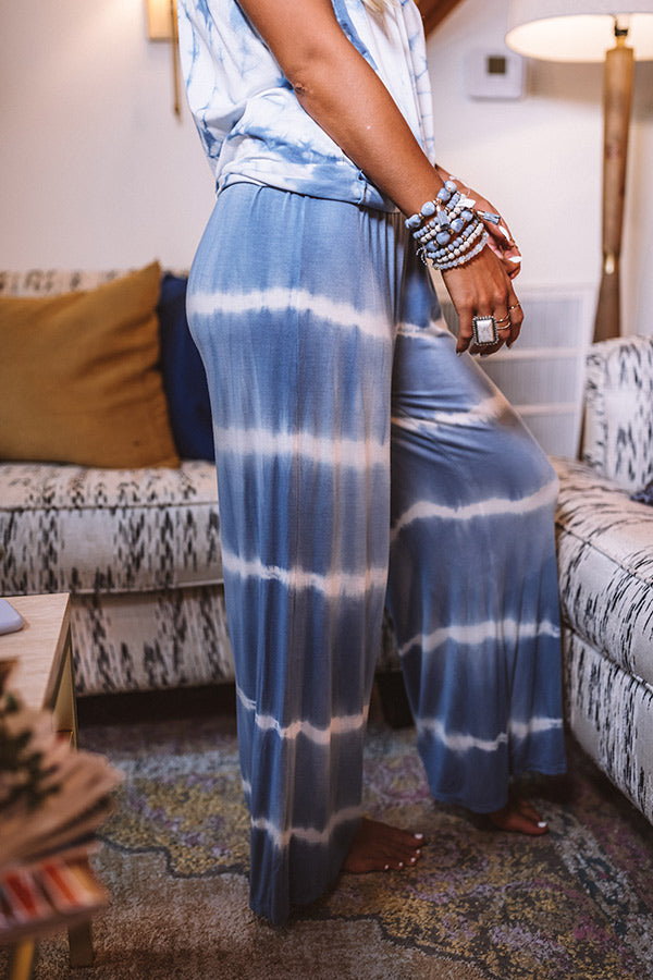 Pacific Coast Highway Tie Dye Pants In Airy Blue