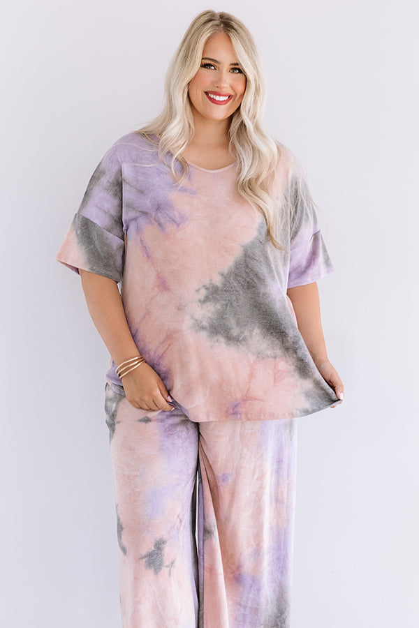 Tender Heart Tie Dye Shift Tee In Blush