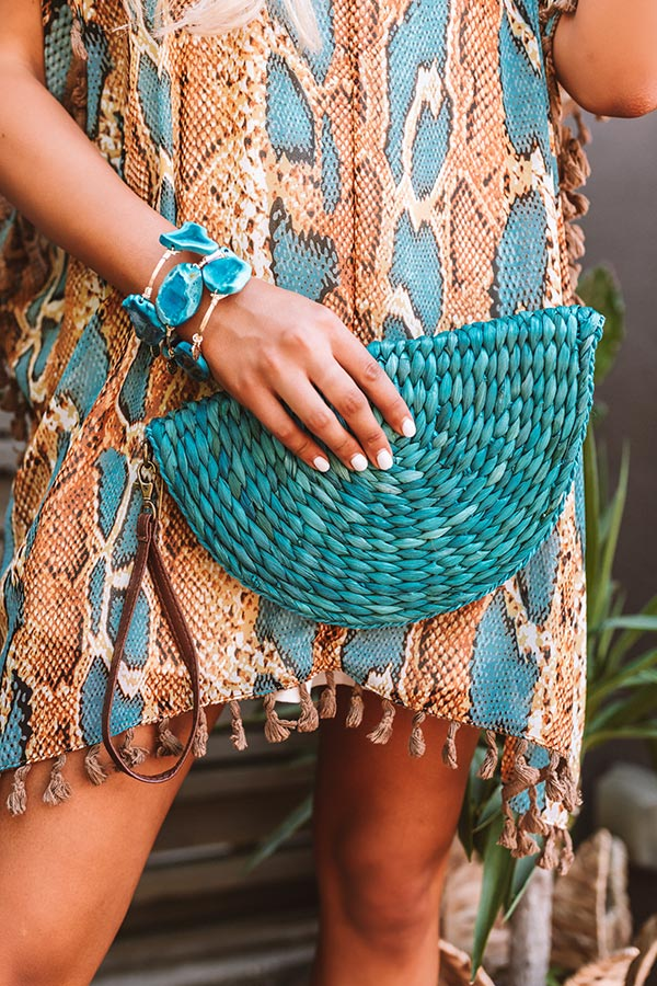 Stylish By Design Woven Clutch In Ocean Blue
