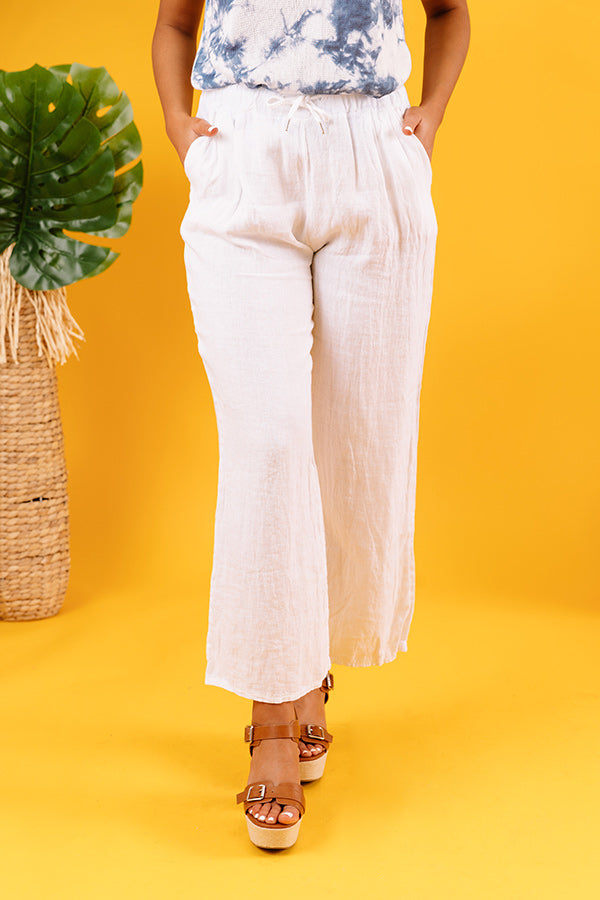 The Rio High Waist Linen Pants In White