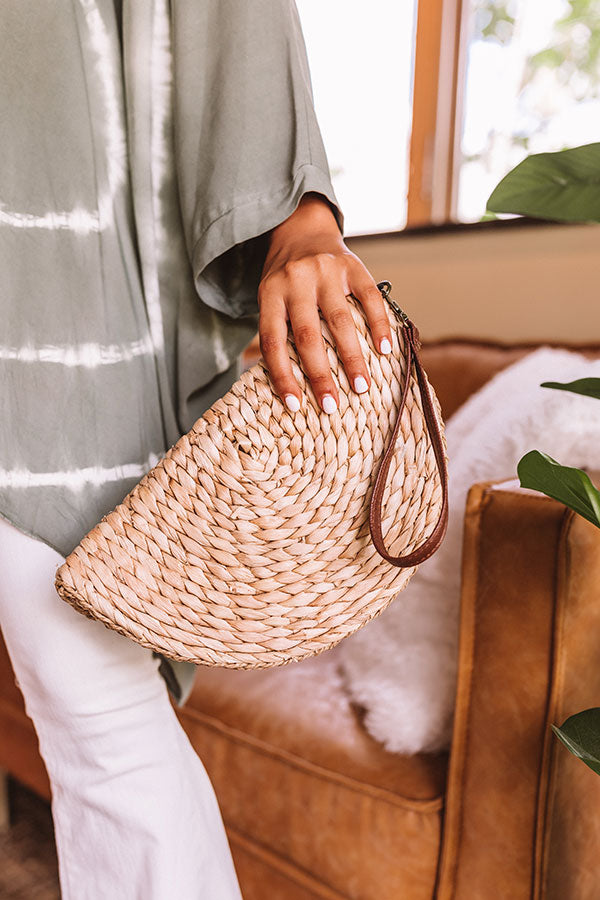 Stylish By Design Woven Clutch In Tan