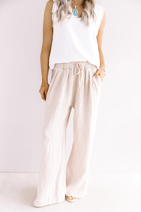 The Rio High Waist Linen Pants In Birch