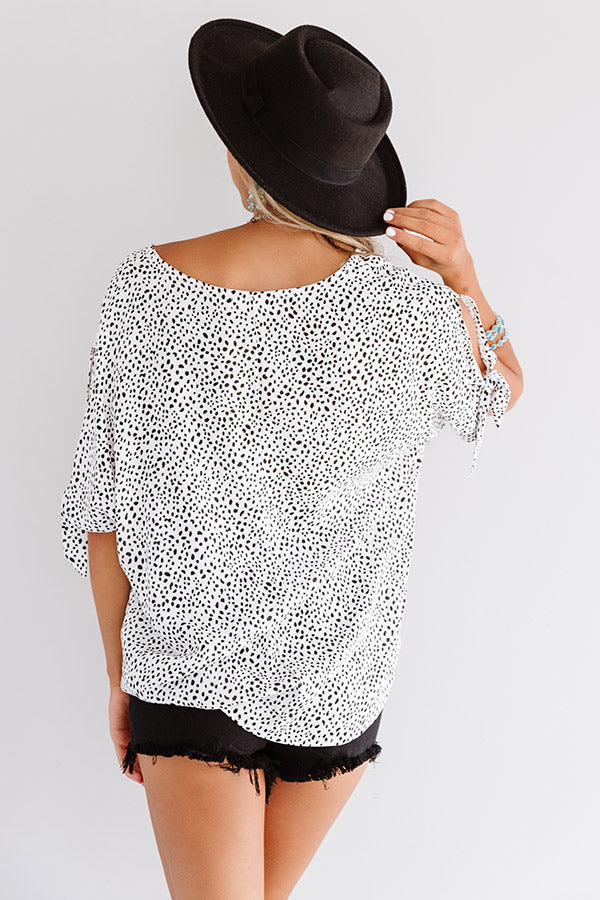 Away On A Jet Plane Cheetah Print Shift Top In White