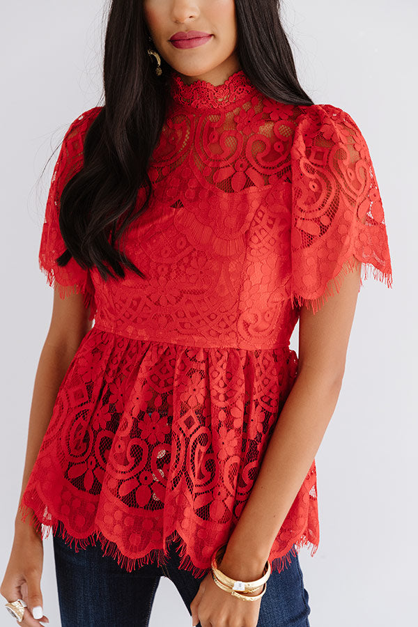 Champagne Splash Lace Top In Red