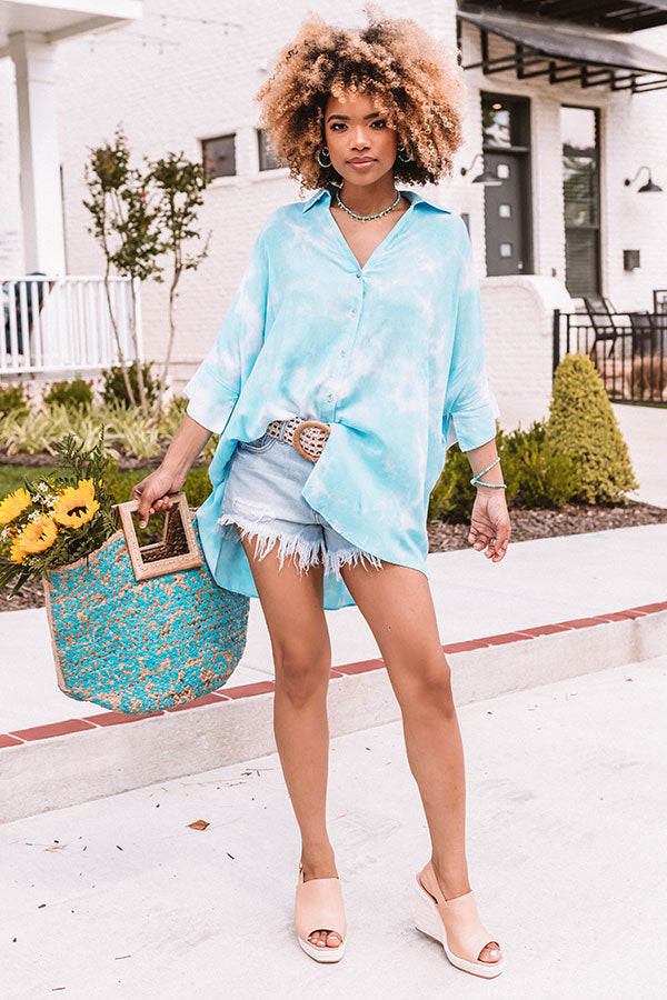 Day Date Dreaming Shift Tunic In Sky Blue