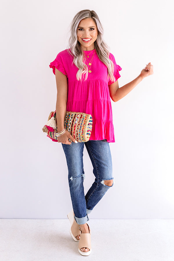 Coffee Date Crushin' Babydoll Top In Hot Pink