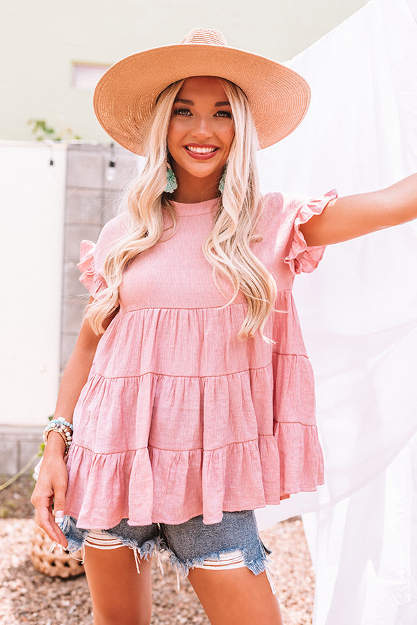 Coffee Date Crushin' Babydoll Top In Blush