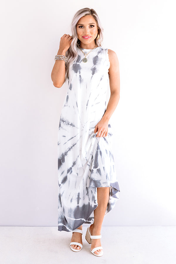 Fiji Float Tie Dye Maxi In Charcoal