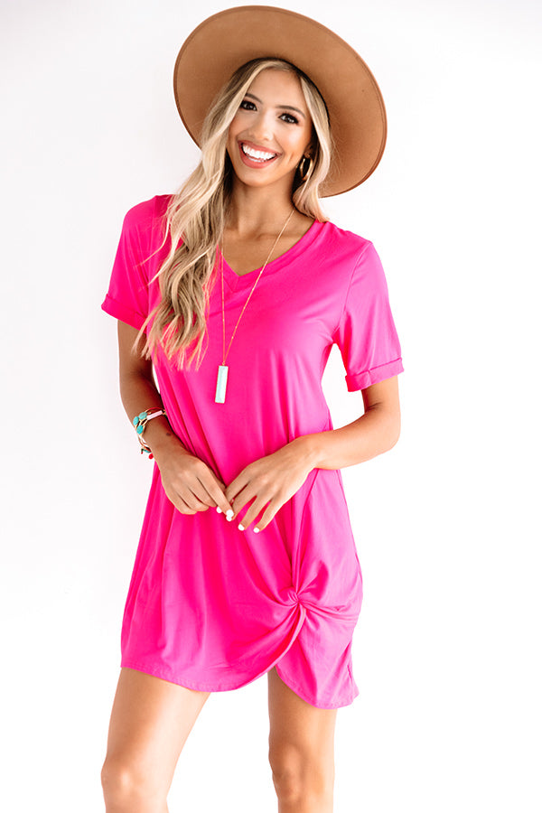 Dinner And Show Shift Dress In Hot Pink