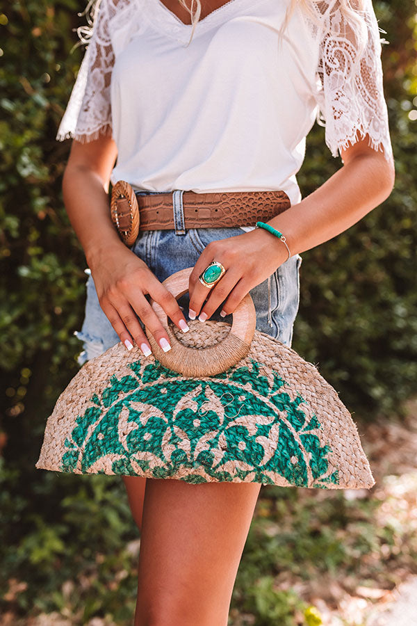 Cute Composer Woven Clutch In Green