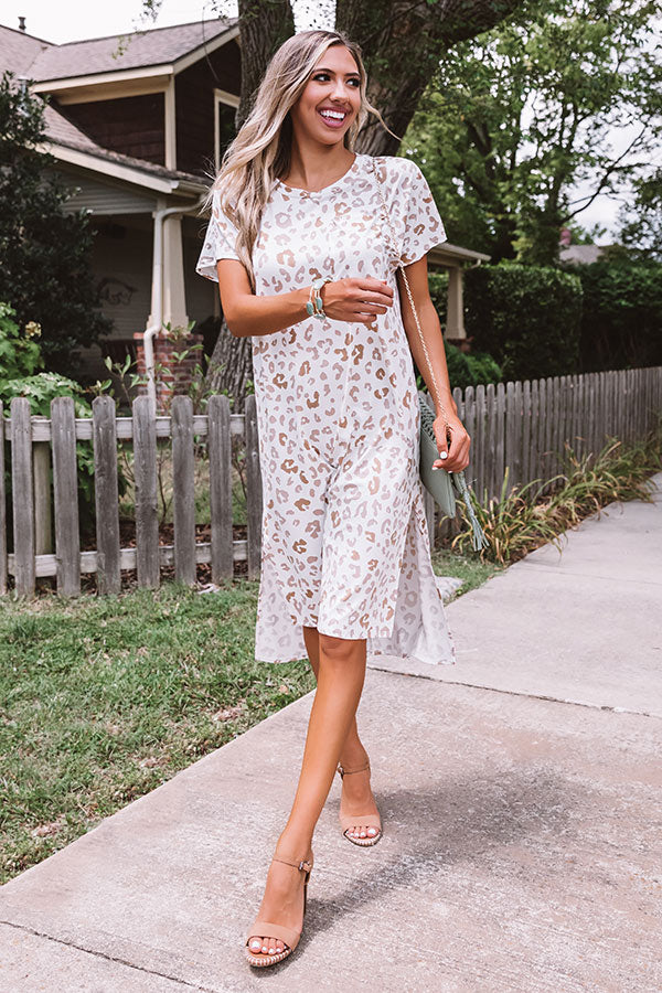 Sincerely Chic Leopard Midi In Ivory