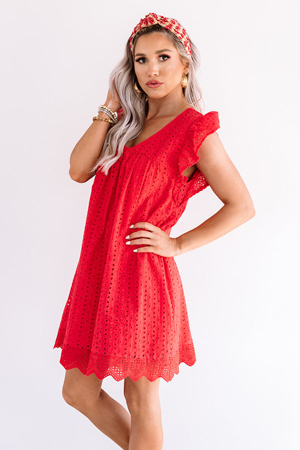 Belize It Or Not Eyelet Dress in Red