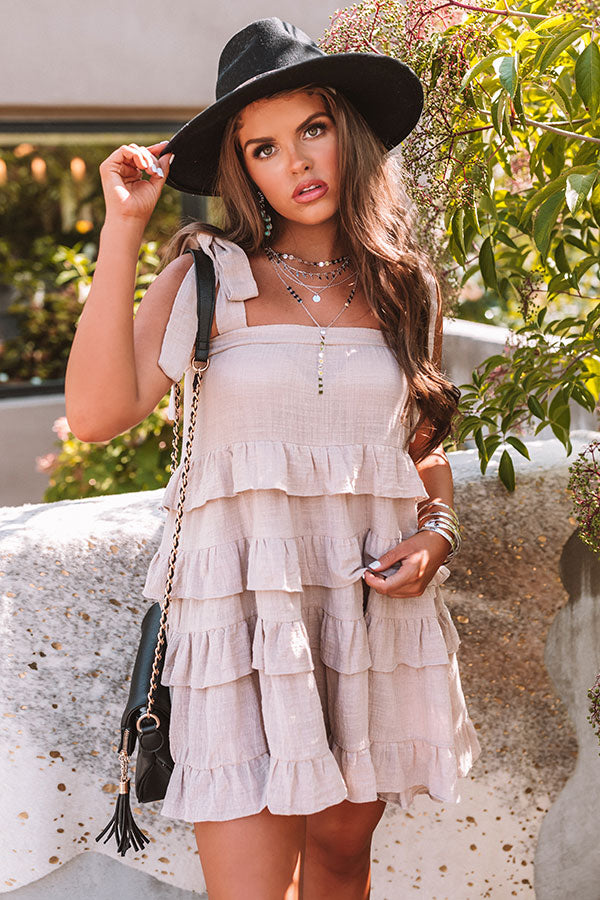 Starting Rumors Ruffle Dress In Warm Taupe