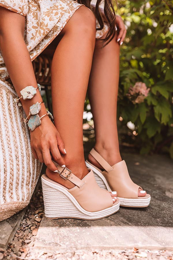 The Sylvie Faux Leather Wedge in Tan