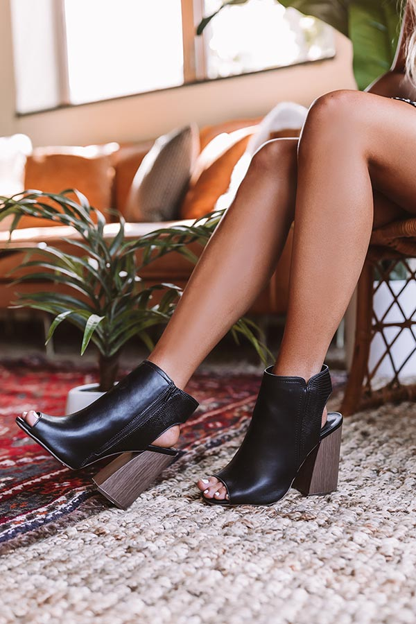 The Lexington Peep Toe Bootie In Black