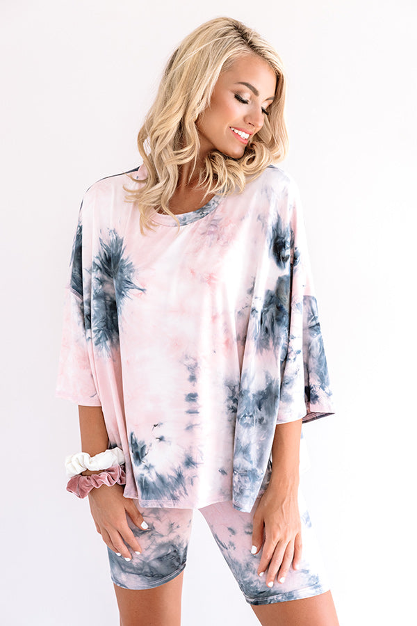 Heart Breaker Tie Dye Shift Top In Blush
