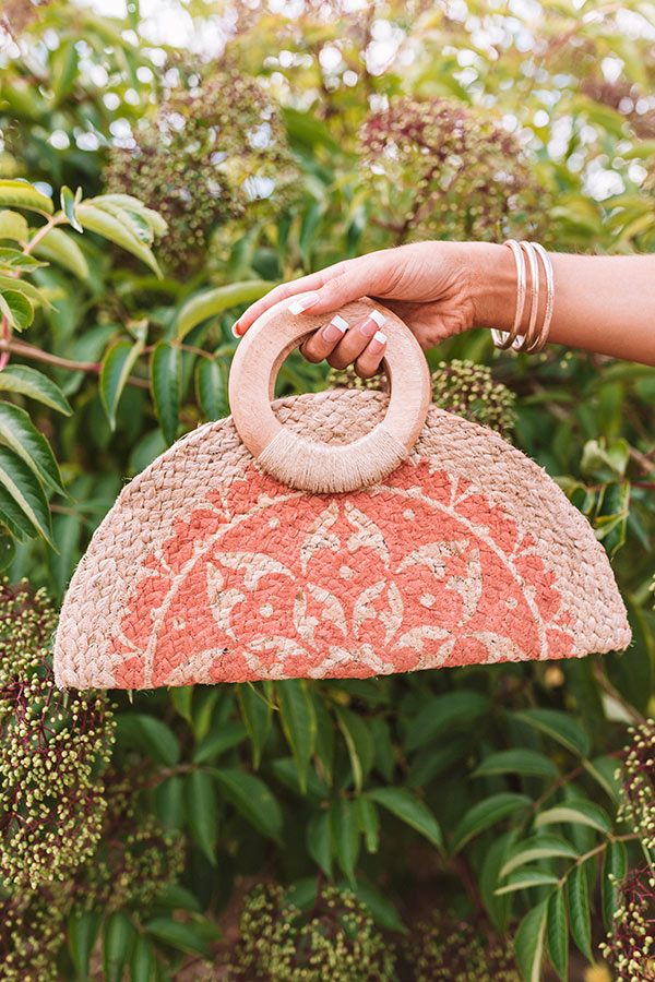 Cute Composer Woven Clutch In Coral