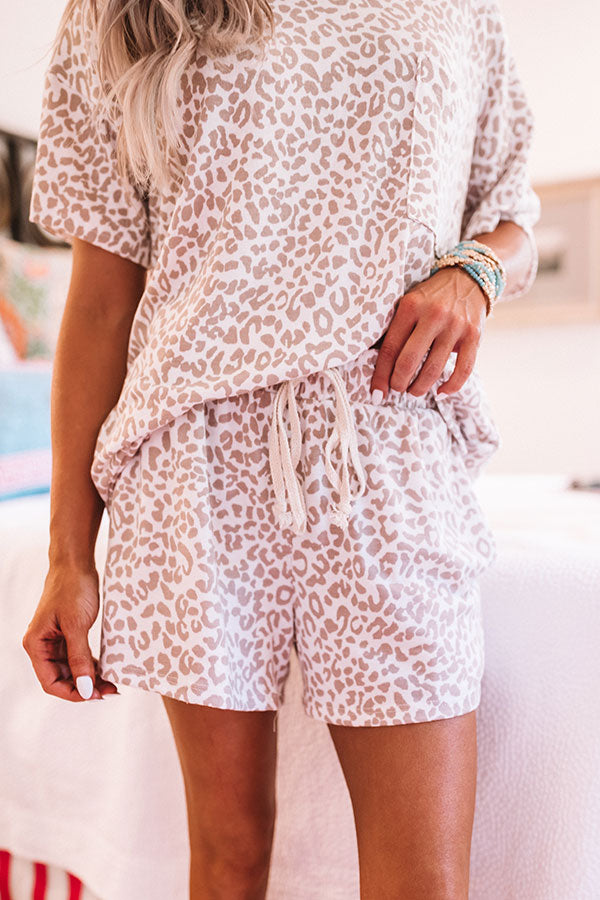 Lounging In Leopard Shorts In White