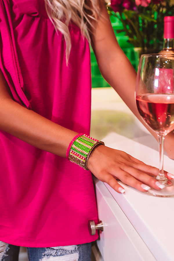 Time In Tahiti Embellished Cuff Bracelet