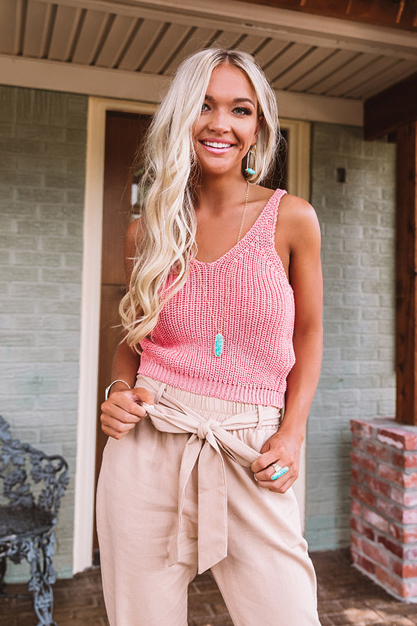 Grand Potential Knit Tank In Coral