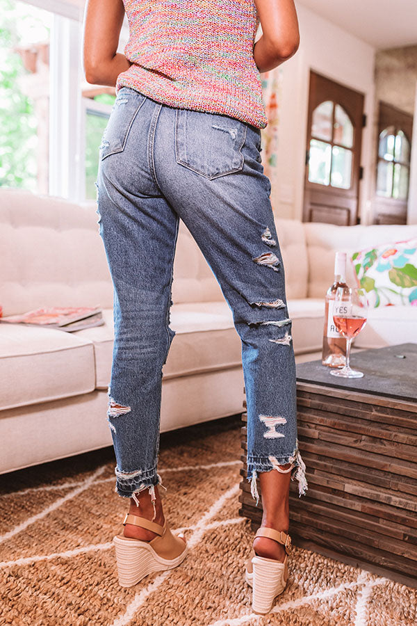 The Pierce High Waist Relaxed Destroyed Jean In Medium Wash