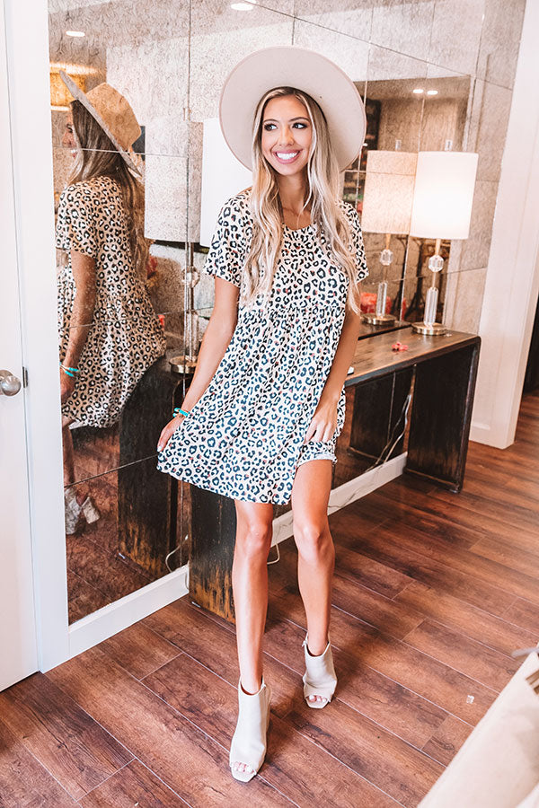 Good Energy Leopard Babydoll Dress