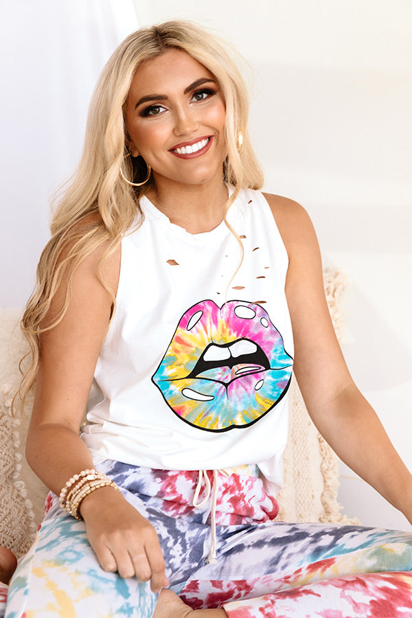 Tie Dye Lips Distressed Boyfriend Tank in White
